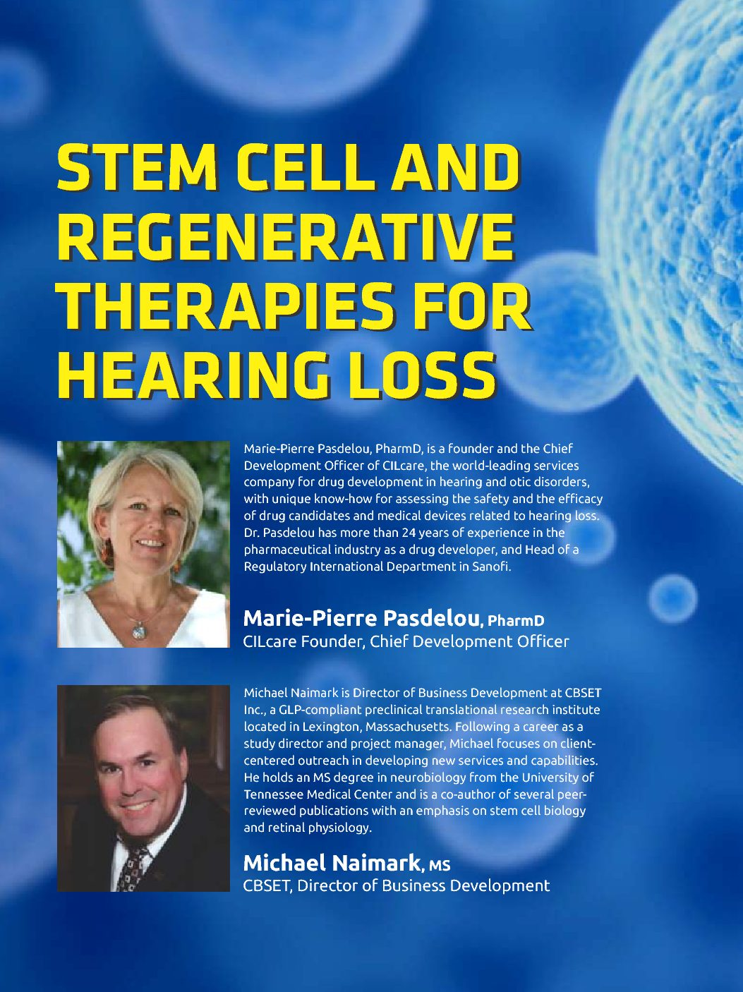 World Pharma Today: Stem cell and regenerative therapies for hearing loss