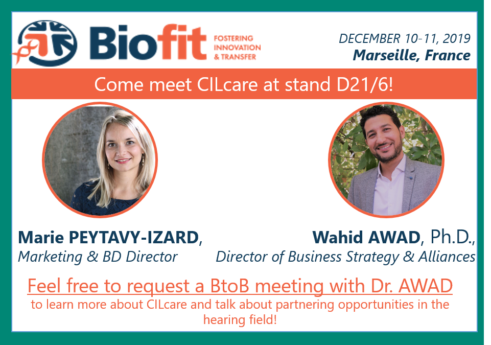 Meet CILcare at Biofit conference on December 10-11, 2019 in Marseille, France
