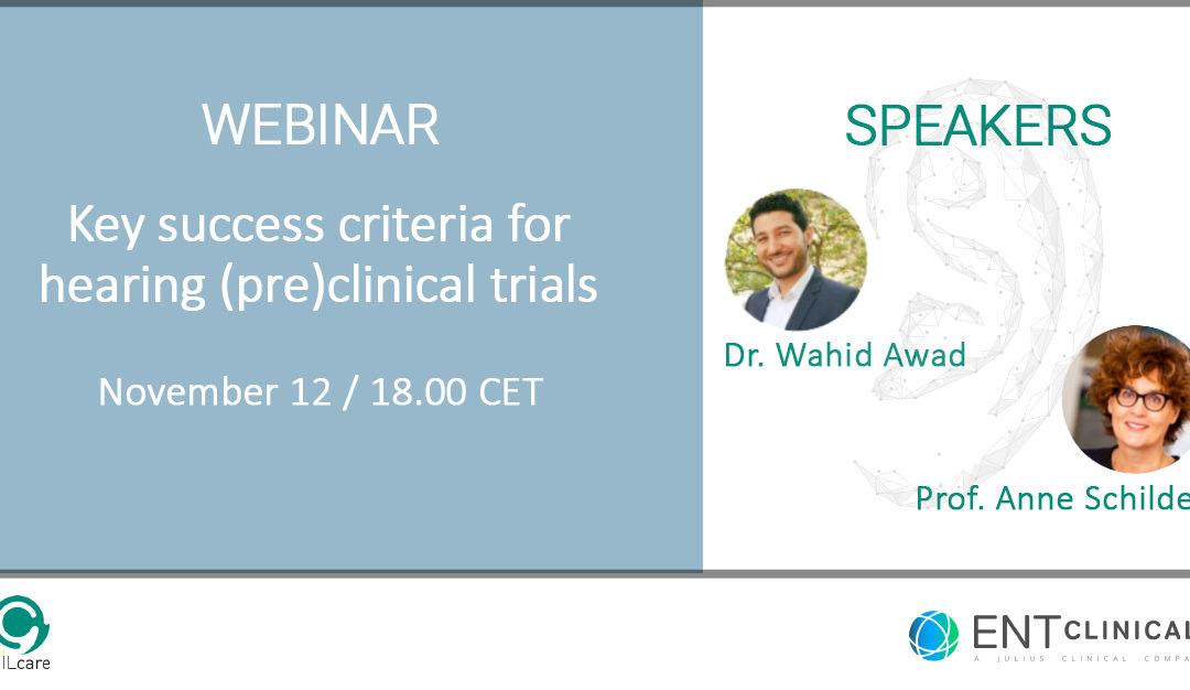 Webinar: key success criteria for hearing (pre)clinical trials